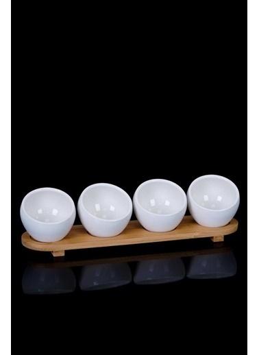 Acar PORJ-010156/12 Acar Beyaz 4'Lü Bambu Tepsi Oval Porselen Sosluk Porj-010156/12 Renkli
